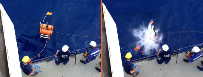 First ocean-bottom seismometer deployed (Picture: Chris Scheingraber).