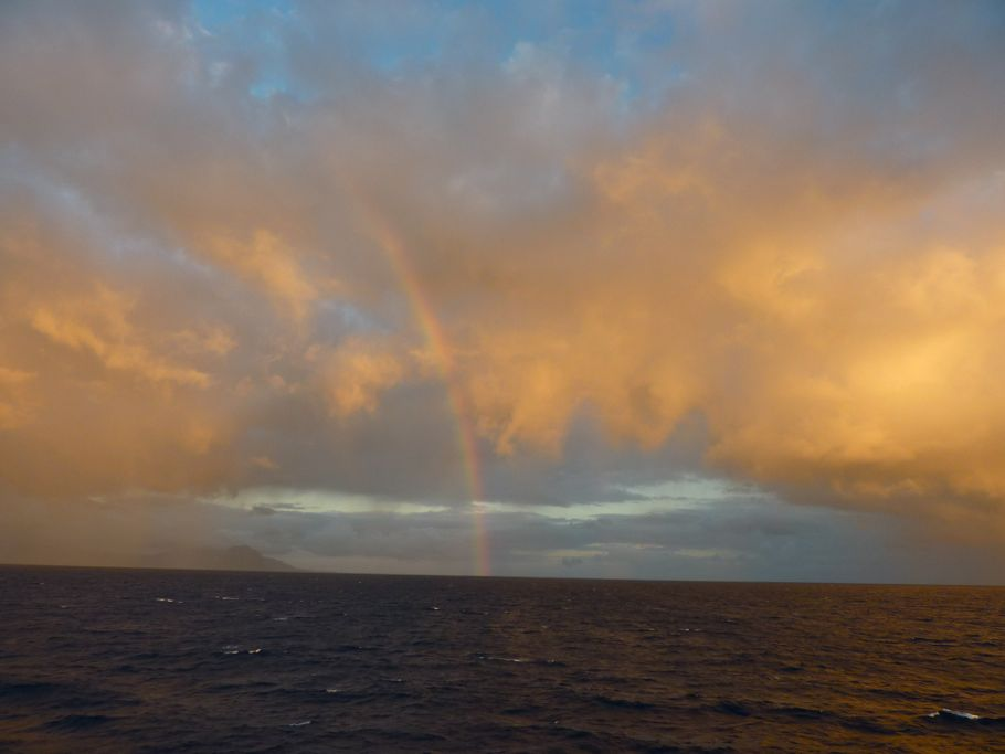Rainbow and sunset over Mauritius Island
